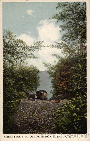 Rural Scene of Boat and Lake Johnson City New York
