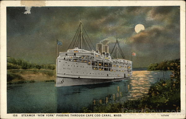 Steamer New York Passing through Cape Cod Canal Massachusetts