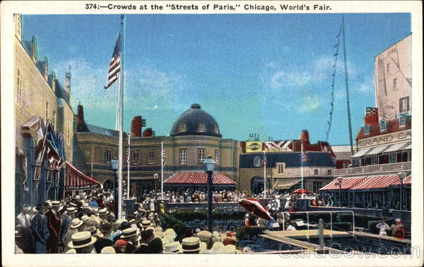 Crowds at the Streets of Paris Chicago Illinois 1933 Chicago World Fair