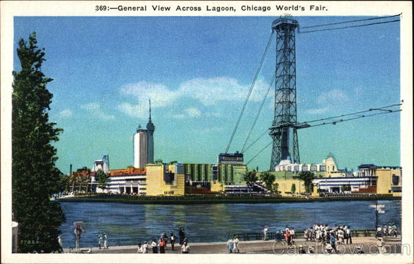 General View Across Lagoon Chicago Illinois 1933 Chicago World Fair