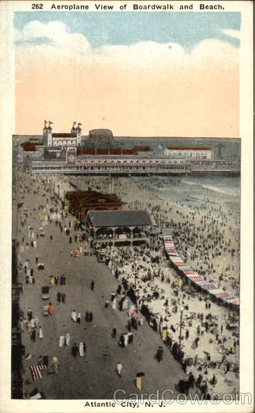 Aeroplane View of Boardwalk and Beach Atlantic City New Jersey