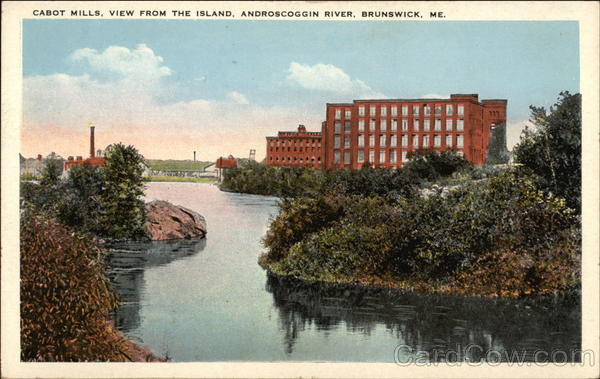 Cabot Mills - View from the Island, Androscoggin River Brunswick Maine