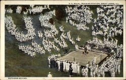 Outdoor Boxing - U.S. Naval Training Station Postcard