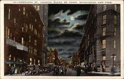 Chenango Street, Looking North by Night Postcard