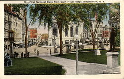 First National Bank from Court House Steps Postcard