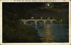 World War Memorial Bridge at Night Postcard