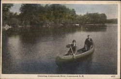 Canoeing, Contoocook River Postcard