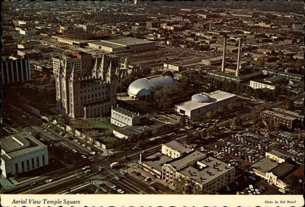 aerial view of temple square salt lake city  ut
