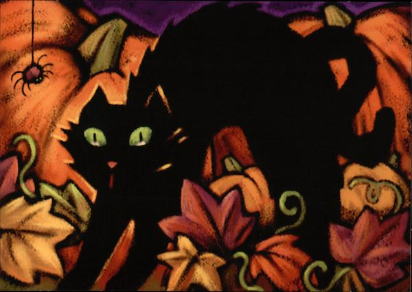 Cat & Spider Among Autumn Leaves - Happy Halloween!