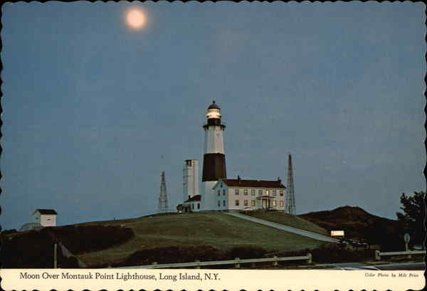 Moon Over Montauk Point Lighthouse Long Island New York
