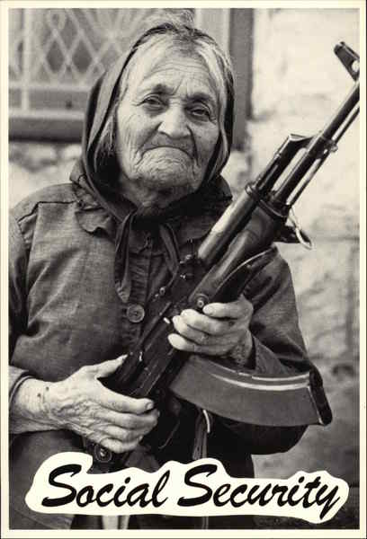 Social Security - Granny with a Gun Comic, Funny