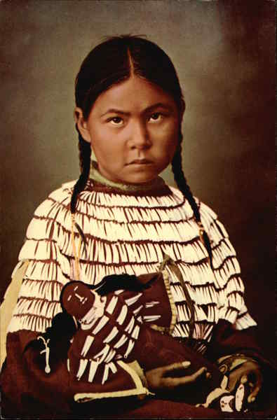 Shy Little Cheyenne Maid with her doll Native Americana
