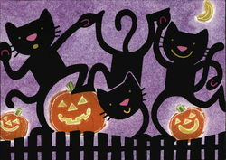 Happy Halloween - Black Cats and Pumpkins