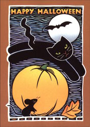 Happy Halloween - Black Cat and Pumpkin