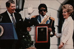 President & Mrs. Reagan with Michael Jackson