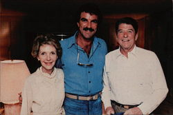 President and Nancy Reagan with TV star Tom Selleck