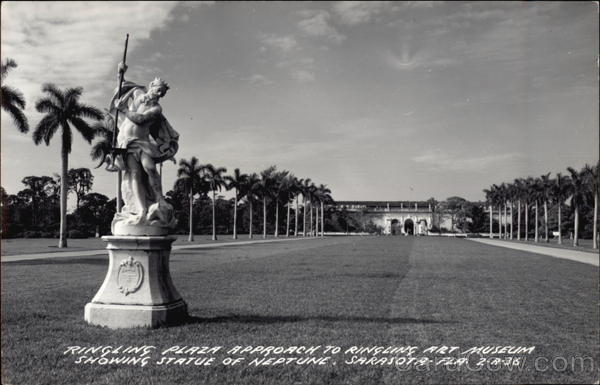 Ringling Plaza Approach to Ringling Art Museum Showing Statue of Neptune Sarasota Florida