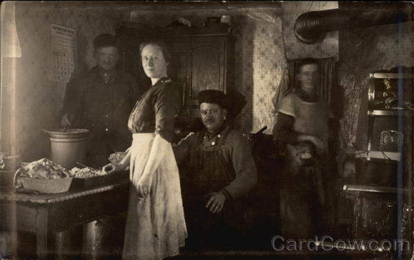 Family in Kitchen Unidentified People