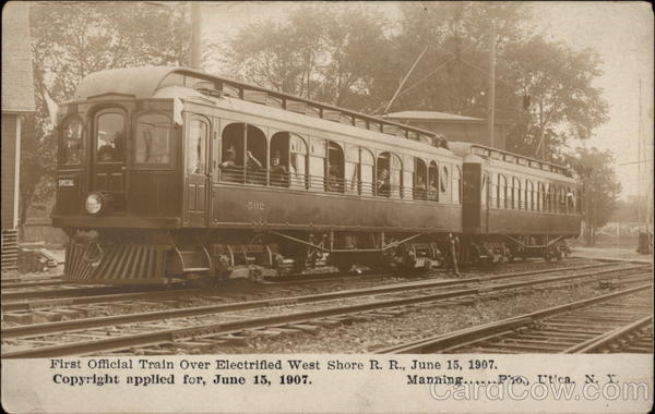 First Official Train Over Electrified West Shore Railroad Utica New York
