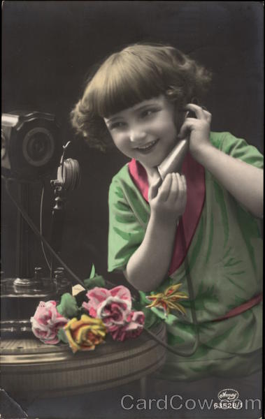 Young Girl on the Telephone Girls Telephones