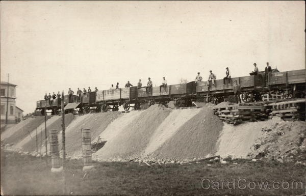 Men Atop Railcars Trains, Railroad