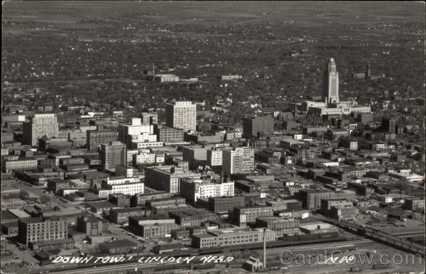 Aerial View of Downtown Lincoln Nebraska