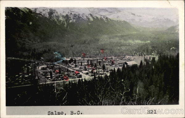 Aerial View of Town Salmo Canada British Columbia