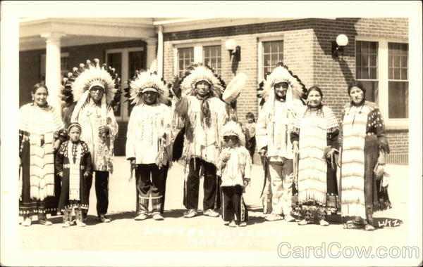 Several Native Americans Posing in Full Costume Native Americana