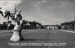 Ringling Plaza Approach to Ringling Art Museum Showing Statue of Neptune