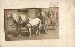 Two Horses Pulling Delivery Wagon