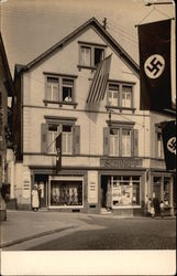 Nazi Flags Flying In Front of Shop