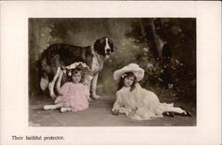 Two Little Girls with St. Bernard