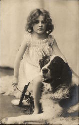 Beautiful Toddler Girl and Saint Bernard