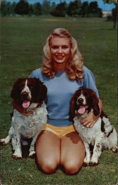 Two Spaniels with a Girl Dogs