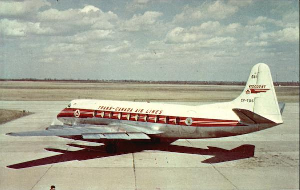 T.C.A. Viscount at Windsor Airport Canada Color by Len Leiffer