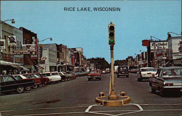 downtown scene rice lake  wi
