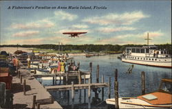 Yacht Basin and Airport at Holmes Beach Postcard