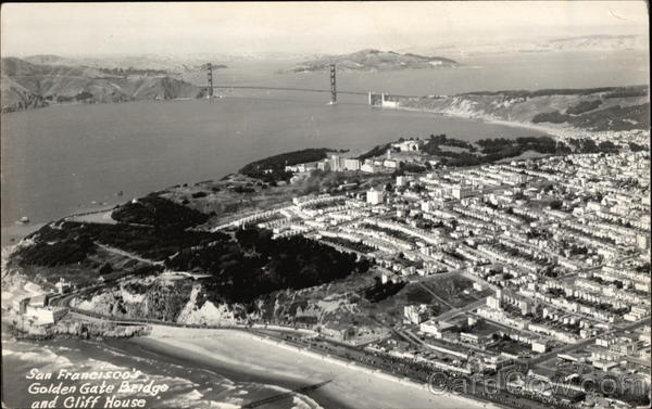 Aerial View of City, Golden Gate Bridge and Cliff House San Francisco California