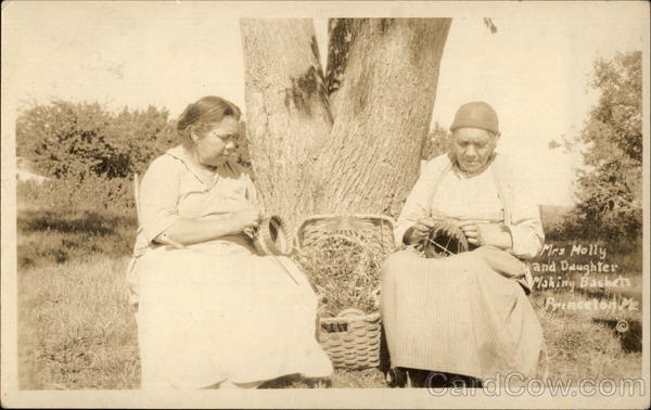 Mrs. Molly and Daughter Making Baskets Princeton Maine