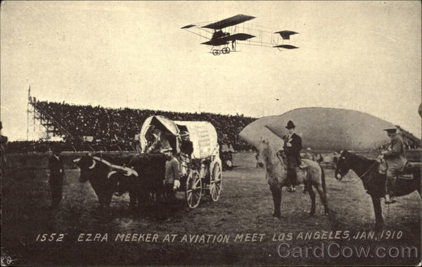 Ezra Meeker at Aviation Meet Jan. 1910 Los Angeles California