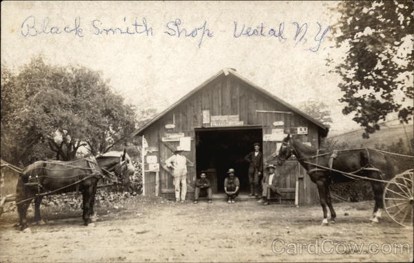 Blacksmith Shop With Men and Horses Vestal New York