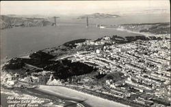 Aerial View of City, Golden Gate Bridge and Cliff House