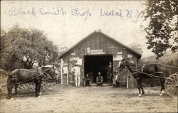 Blacksmith Shop With Men and Horses