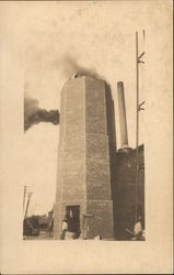 Smokestack under construction, Endicott Johnson & Co