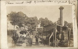 People with Steam Engine, Horse & Buggy