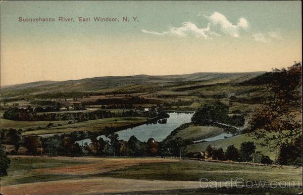 Rural Scene Looking up Susquehanna River East Windsor New York