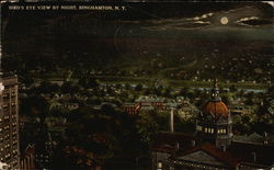 Bird's Eye View of Town By Night Postcard