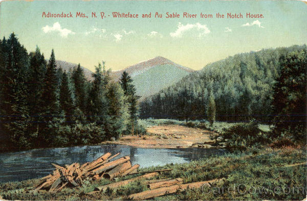 Whiteface and Au Sable River from the Notch House Adirondack Mountains New York