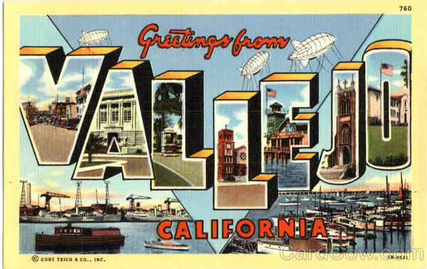 Greetings From Vallejo California Large Letter