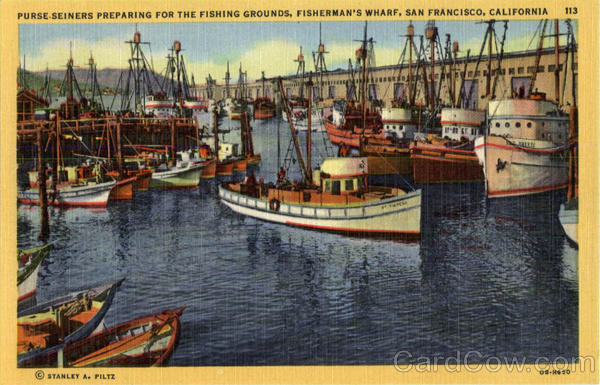 Purse-Seiners Preparing For the Fishing Grounds, Fisherman's Wharf San Francisco California